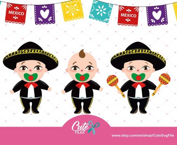 Baby Boy Mariachi Hat, México clipart set, mariachi family.