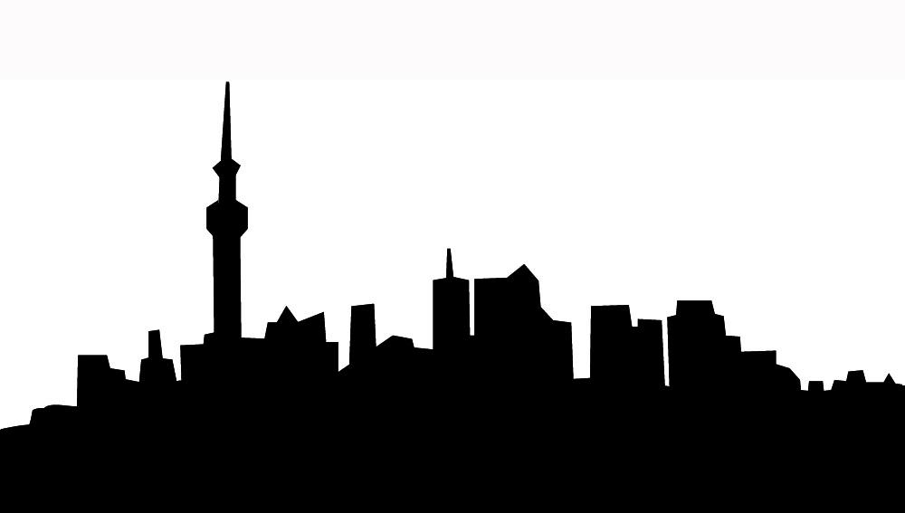New York Skyline Black And White Silhouette.