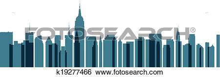 Clip Art of New York City Transparent Skyline k19277466.