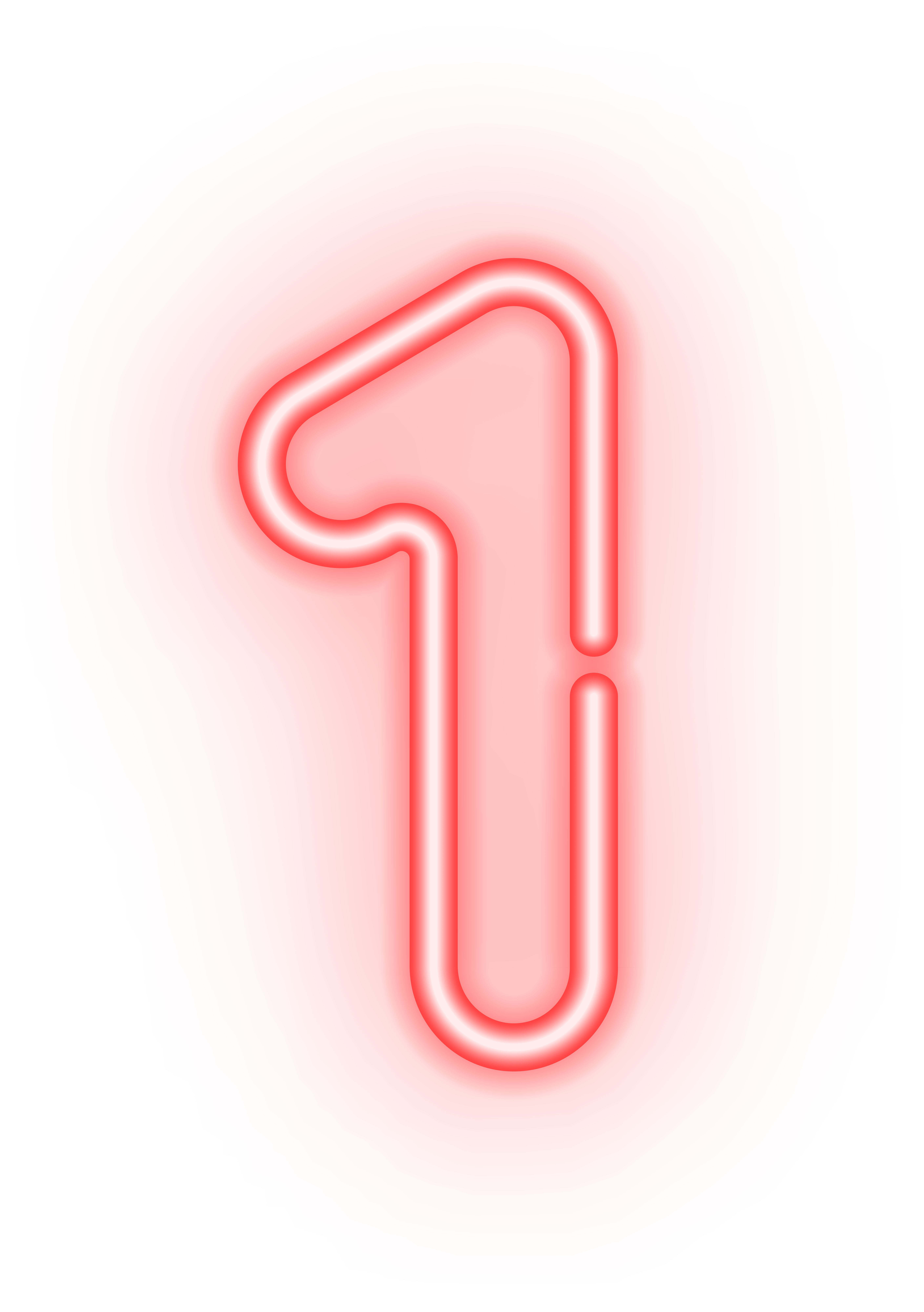 Number One Neon Transparent PNG Image.