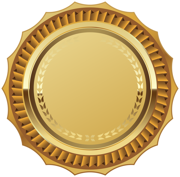 Red and Gold Badge Template Transparent PNG Clip Art Image.