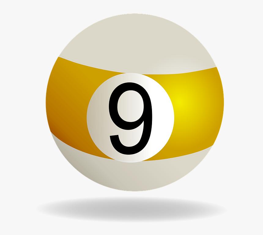 Billiard Ball Striped Yellow, Billiard, Ball, 9, Yellow.