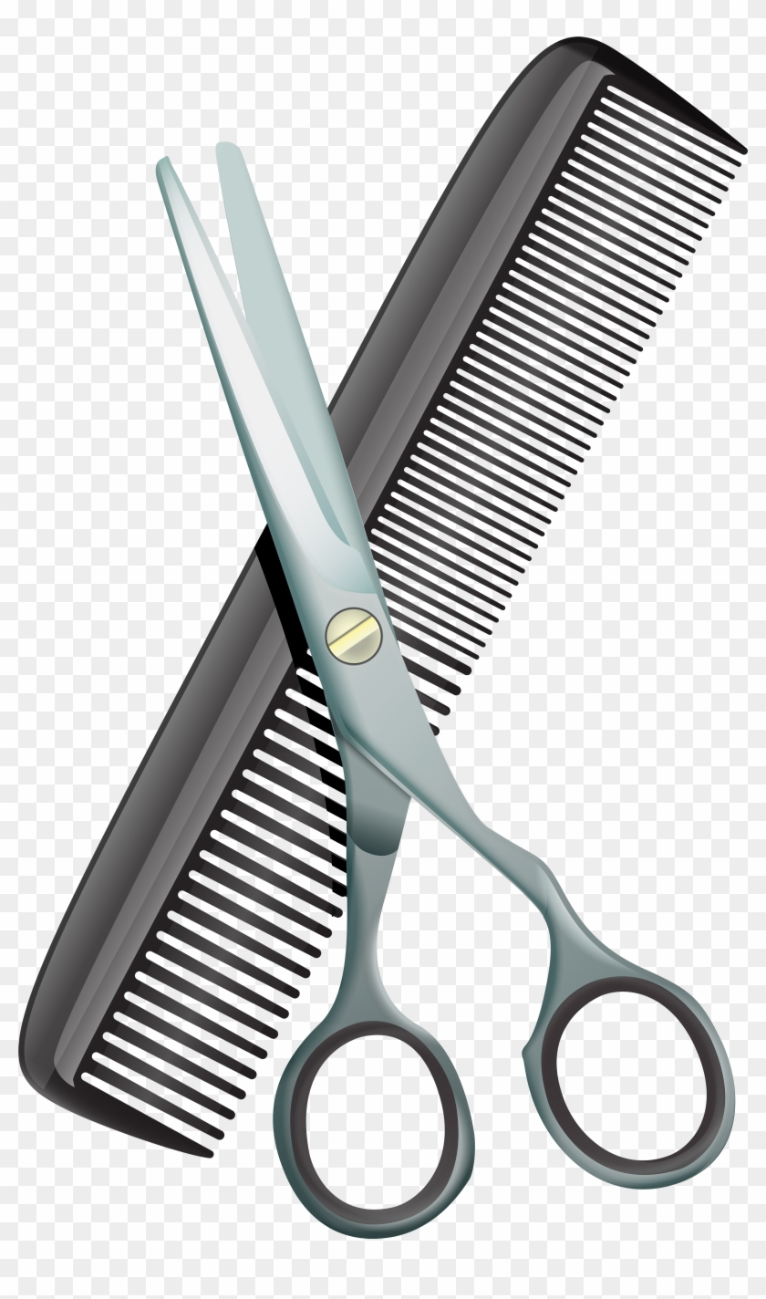 Comb And Scissors Png Clip Art Image.