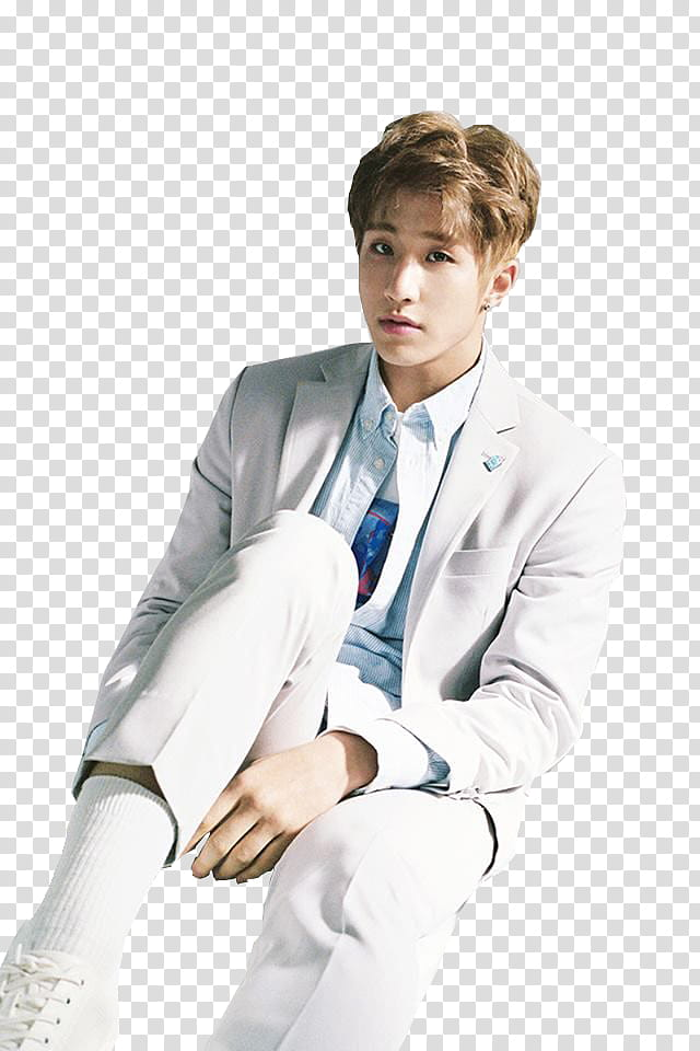 ASTRO Jinjin, sitting man in white suit with right knee.