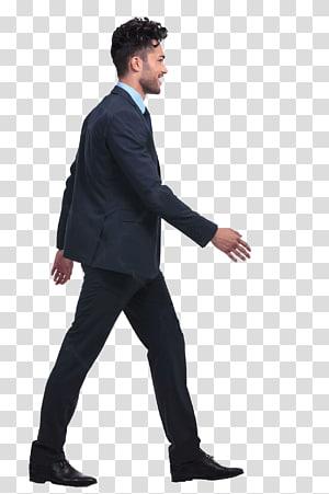 Man wearing black suit walking, Walking Rendering Drawing.