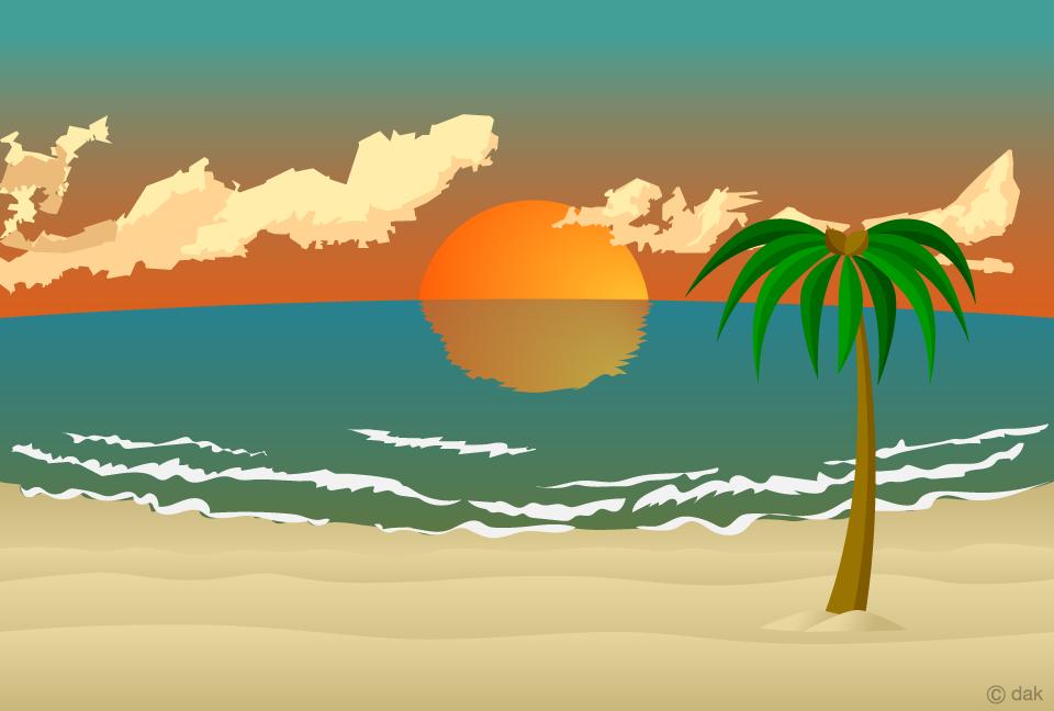 Free Sunset Beach Background Image|Illustoon.