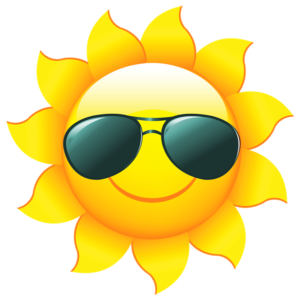 Transparent Sun with Shades PNG Clipart Picture.