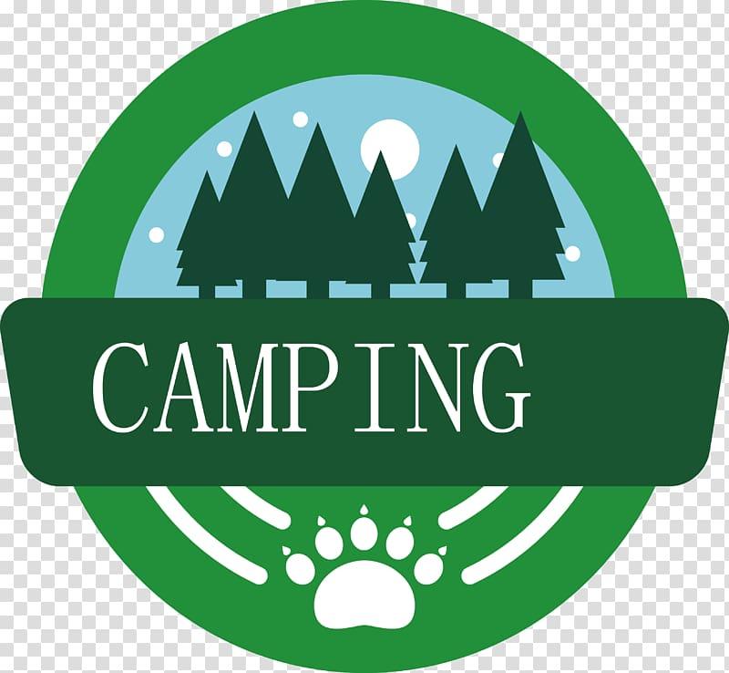 Camping Logo Campsite, Forest label transparent background.