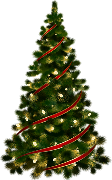 Large Transparent Christmas Tree with Red Ribbon Clipart.