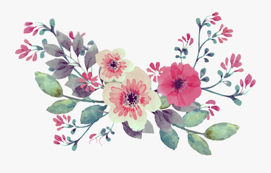 Vintage Watercolor Watercolour Flowers Flower Bouquet.