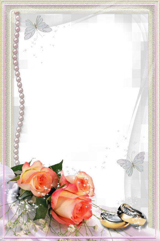 Beautiful Transparent Wedding Photo Frame with Rings and.