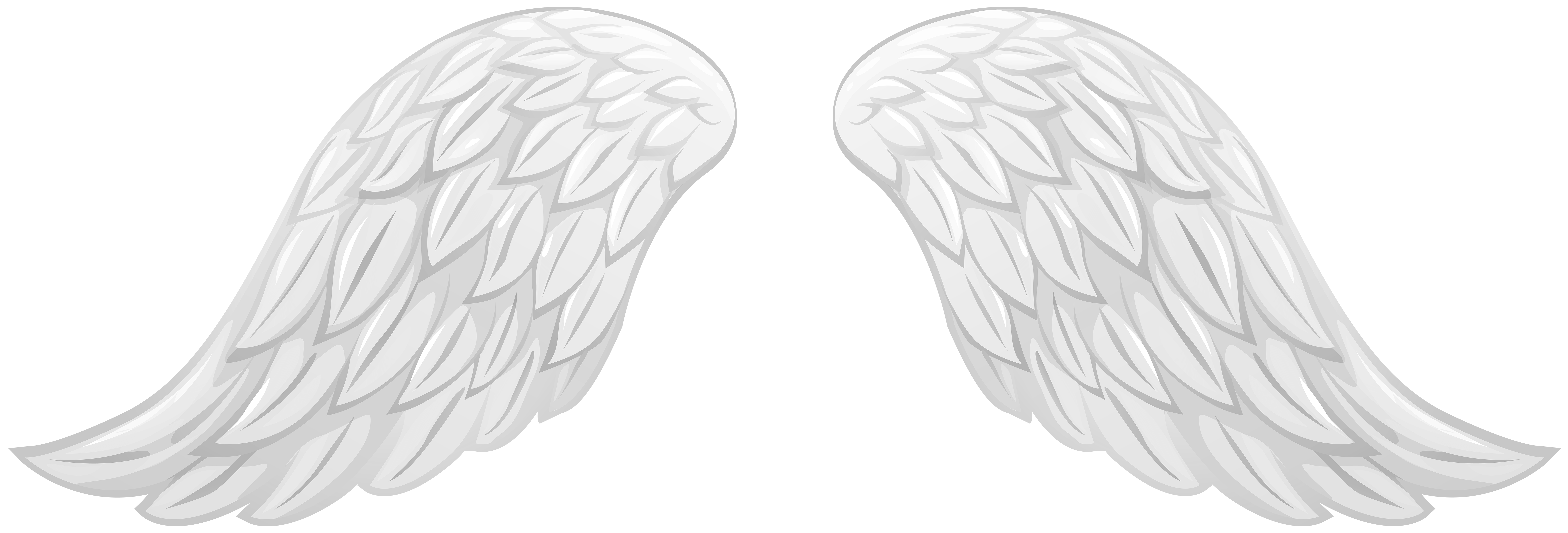 White Wings Transparent Clip Art PNG Image.