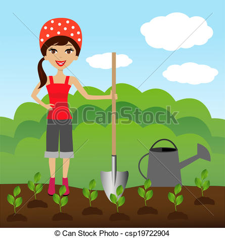 Vector Clipart of woman plants a nursery transplant.