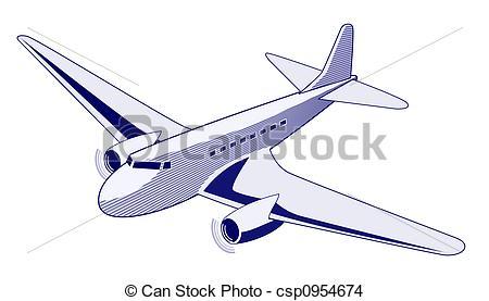 Drawing of Propeller aeroplane.