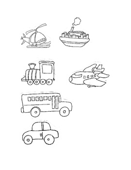 Clip Art in Black & White, Them is Transportation,Fun Stuff.