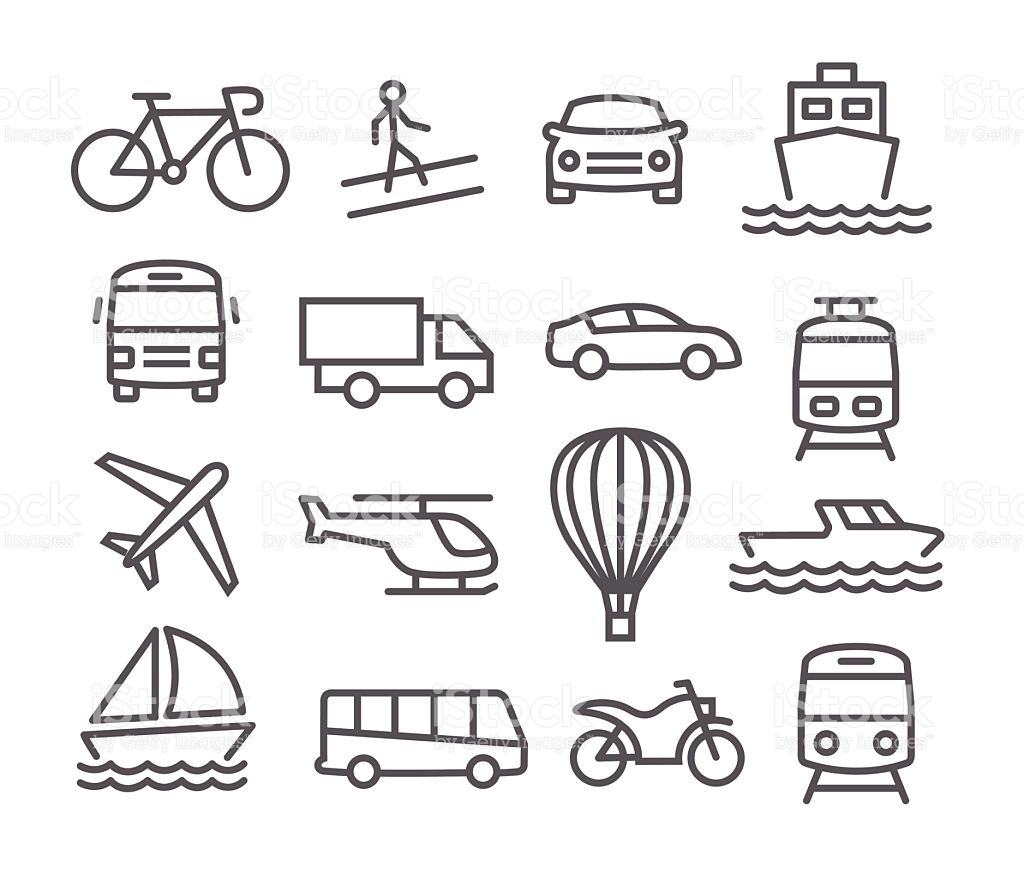 Transport Black White Clipart Vector Id Icons.