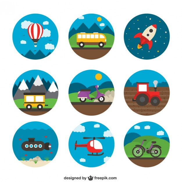 Variety of Transport Icons Free Vector.