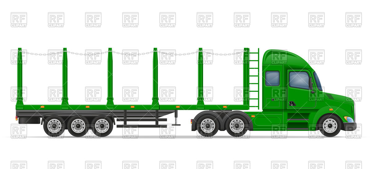 Side view truck semi trailer for transportation of goods Vector.