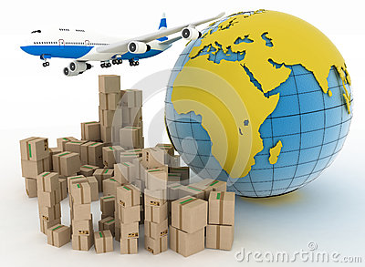 International Goods Transport With Globe On Background Stock Photo.