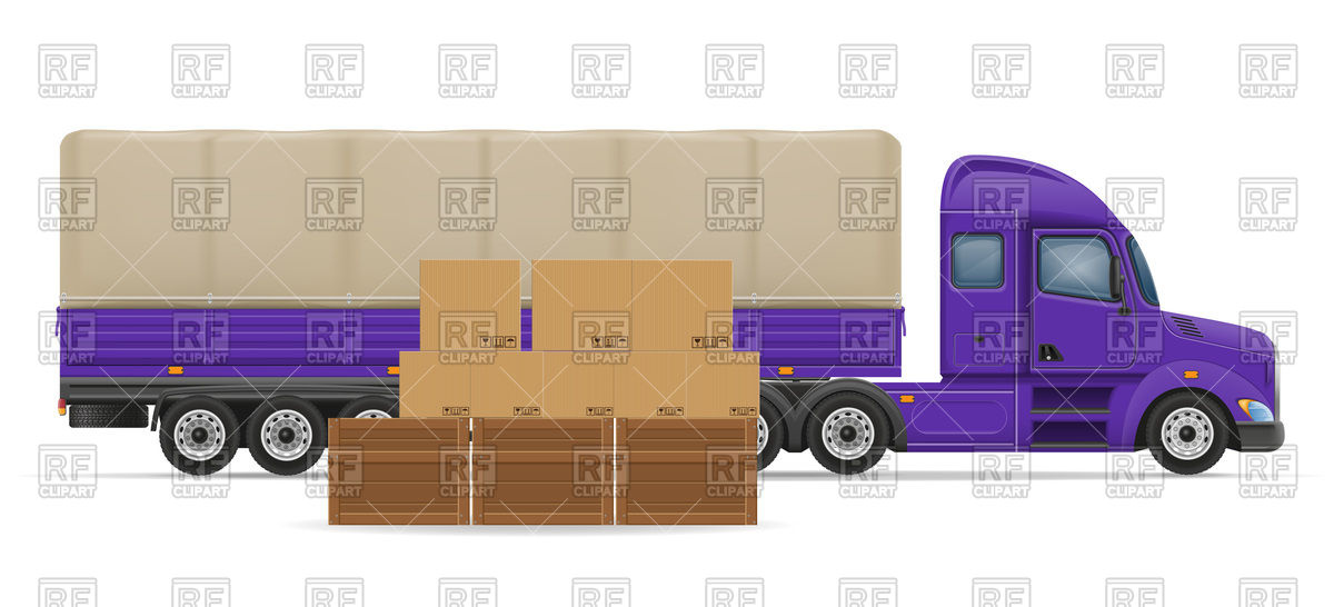 Truck semi trailer for transportation and logistics of goods.