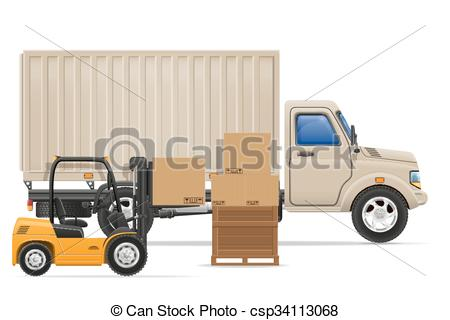 Clip Art Vector of cargo truck delivery and transportation goods.