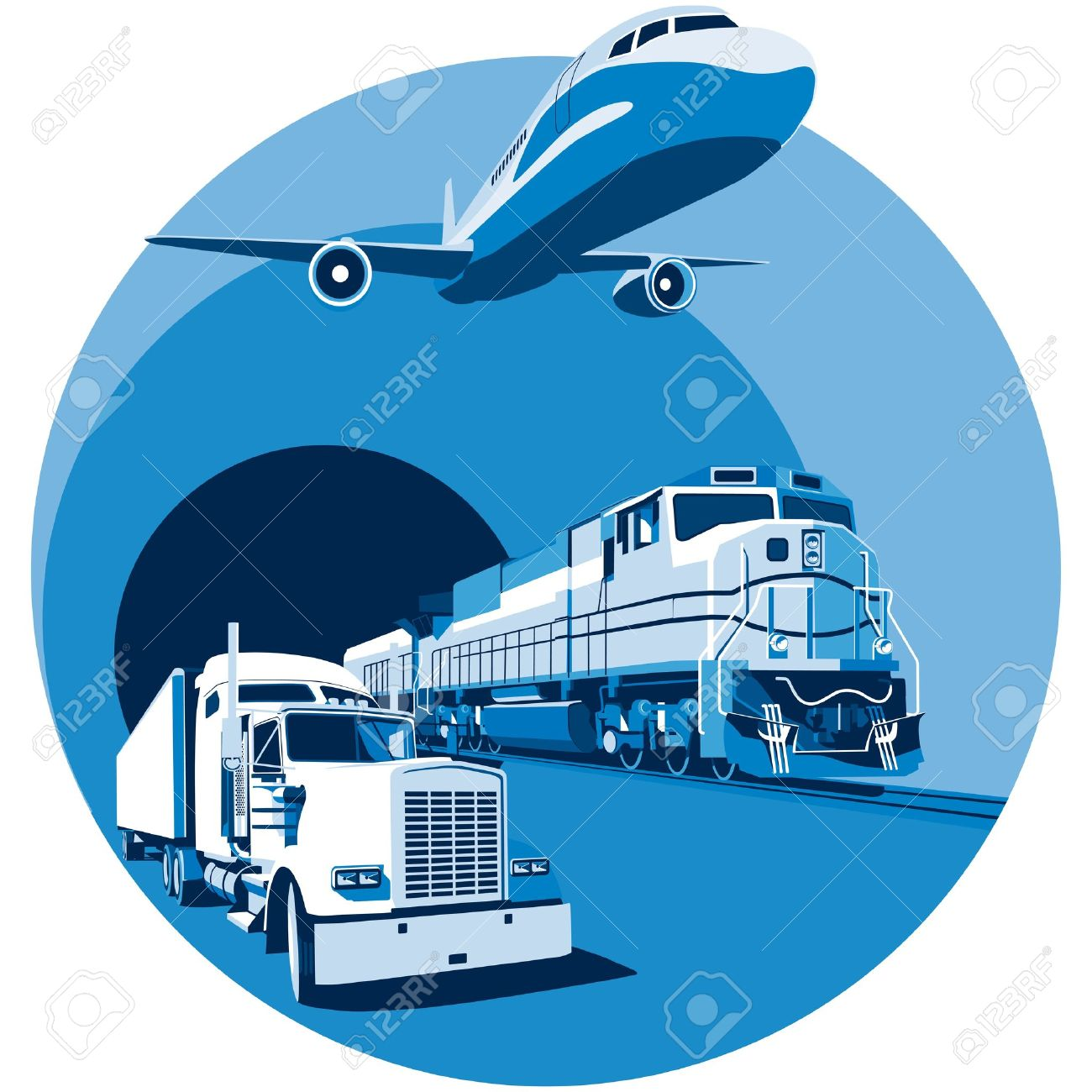 Round Vignette On Theme Of Cargo Transportation With Three Basic.