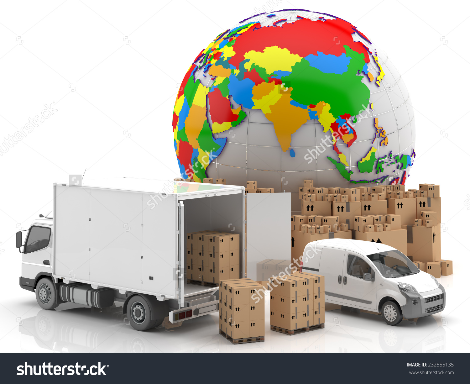 Trade Asia Transportation Goods Ready Transport Stock Illustration.