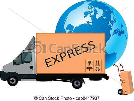 Vectors Illustration of transport truck.