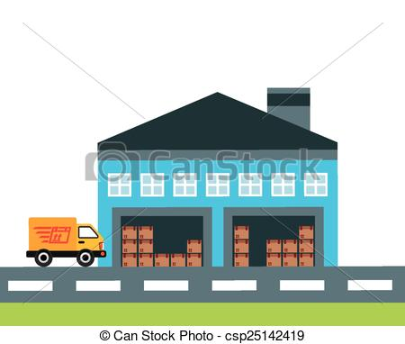 Vector Clip Art of transport of goods design, vector illustration.