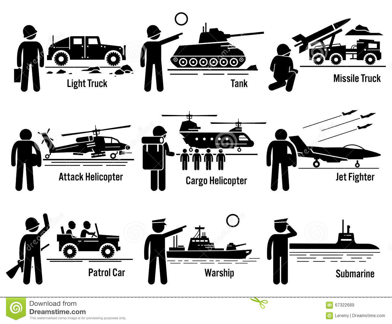 Military Vehicles Army Soldier Transportation Set Clipart Stock.