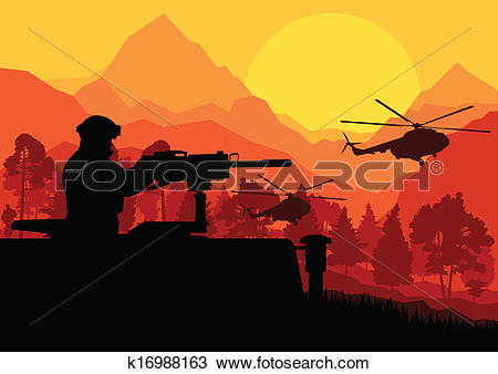 Clipart of Army soldier with helicopters, guns and transportation.