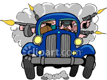 Cartoon Clipart Picture of a Car Full of Gangsters Shooting Guns.