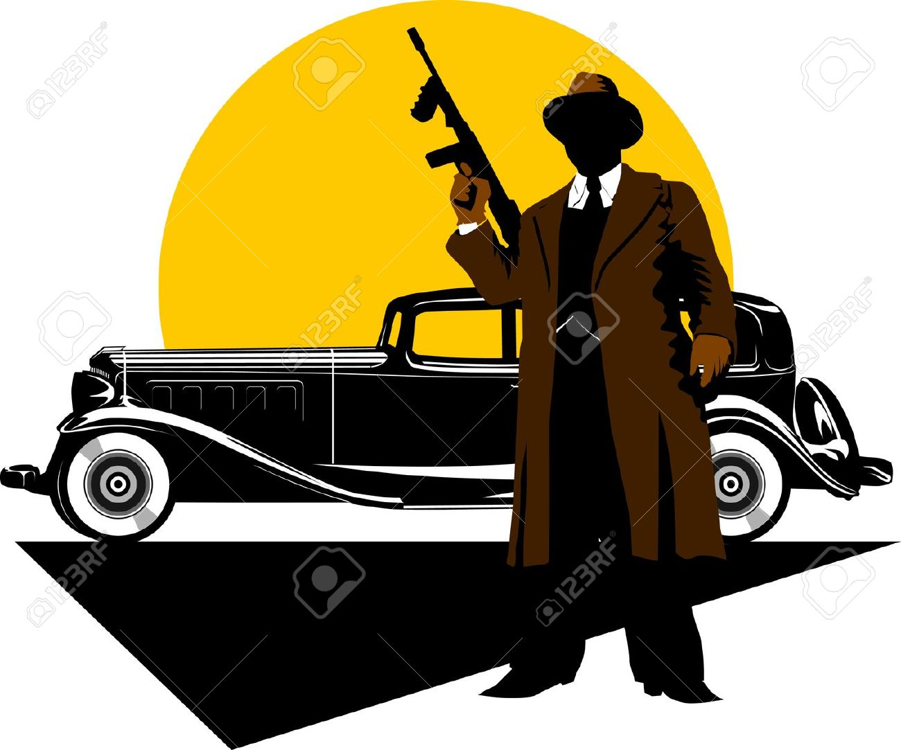 Black Retro Car On   Background Of Yellow Moon; Royalty Free.
