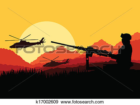 Clip Art of Army soldier with helicopters, guns and transportation.