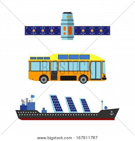 Ship, bus and satellite sun energy vector illustration. Eco.