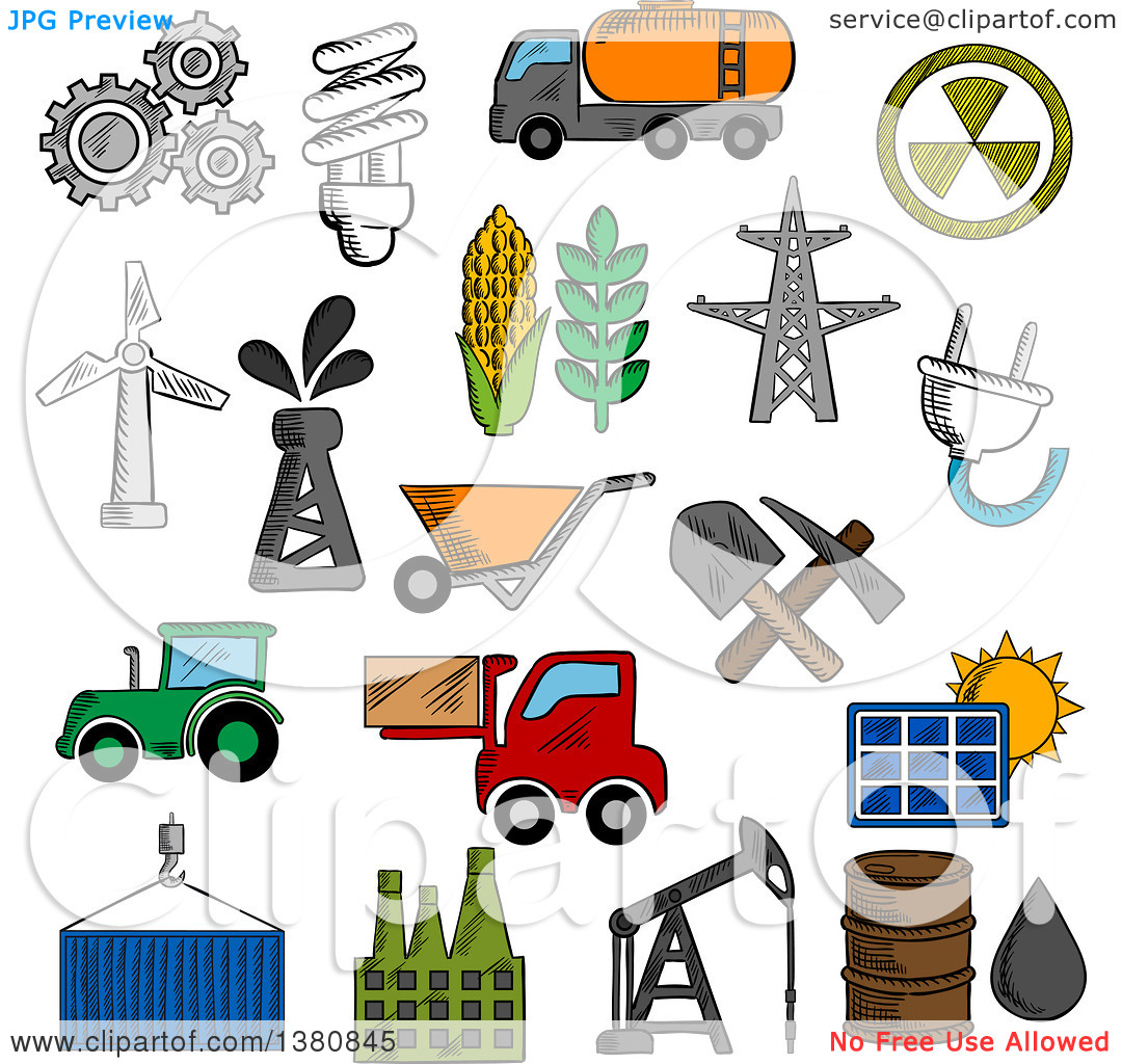 Clipart of Sketched Industry and Energy Icons with Oil Pump and.