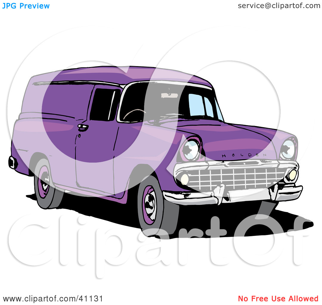 Clipart Illustration of a Vintage Purple Holden Panel Van by.