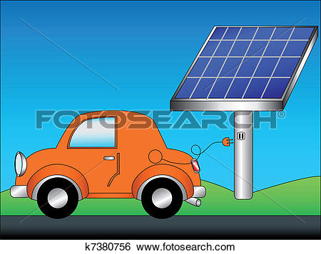 Clip Art of Eco car and solar panel k7380756.