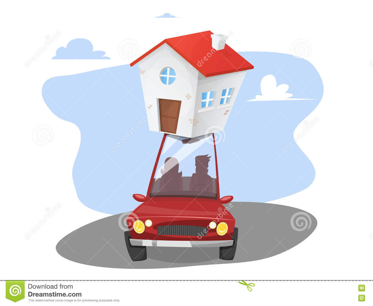 Moving Day. Transportable House Stock Illustration.