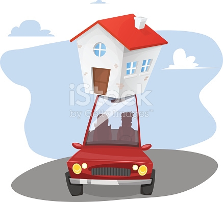 Moving Day Transportable House stock vector art 512735764.