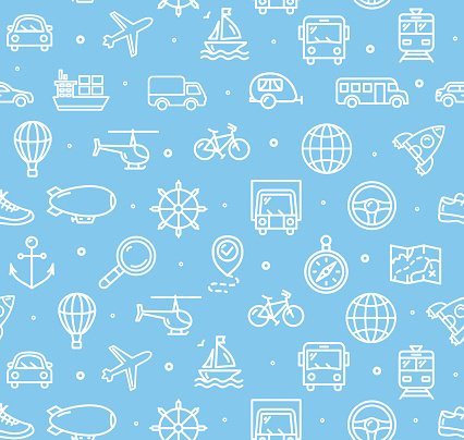 Travel and Transportation Background Pattern. Vector Clipart.