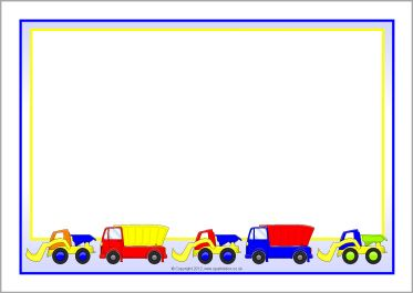 Dump trucks and diggers A4 page borders (SB8156.