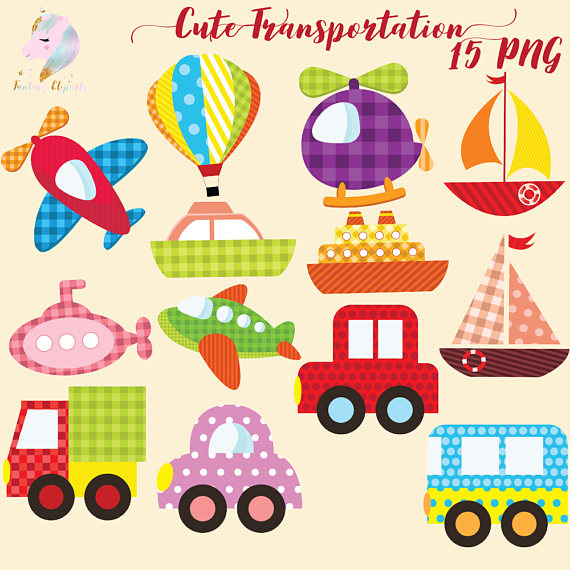 Cute Transportation Clipart.