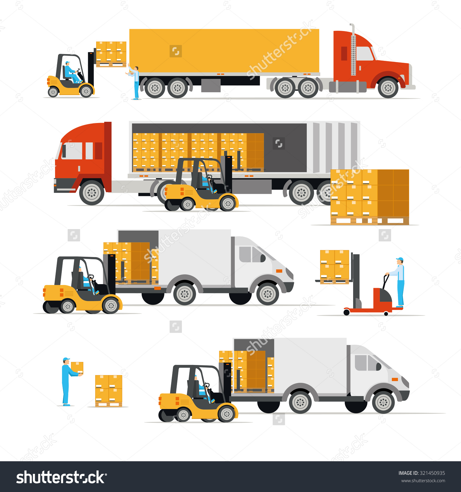 Vector Illustration Flat Style Icons Cargo Stock Vector 321450935.