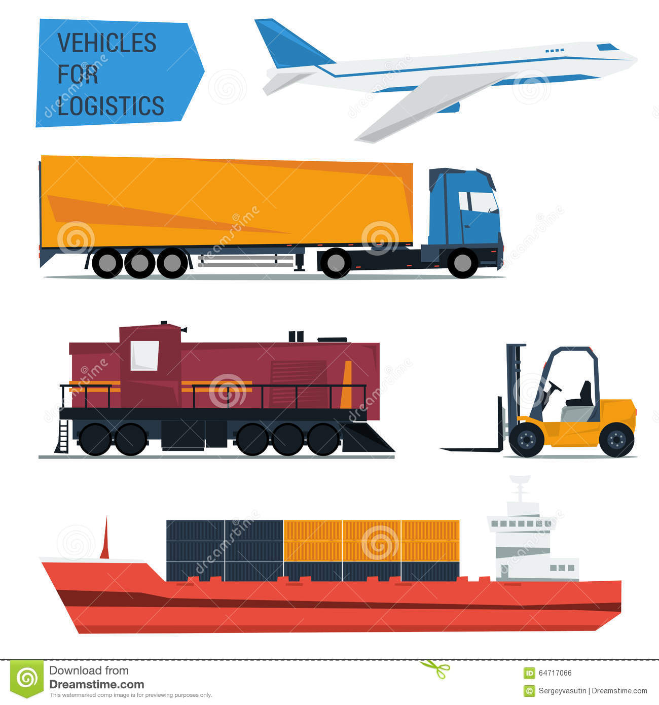 Vector Icons Set Freight Transportation Logistics Stock Vector.