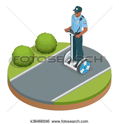 Clip Art of Police officer on fashionable two.