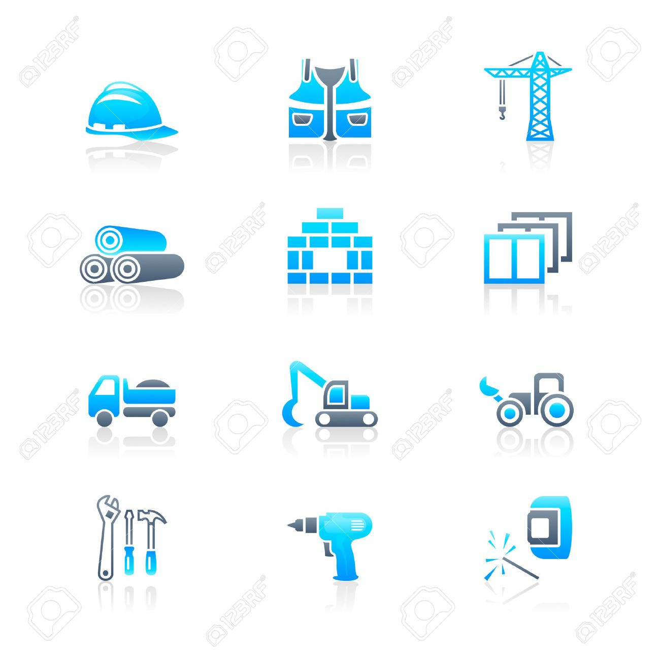 Construction Tools, Transportation, Materials And More Icon Set.