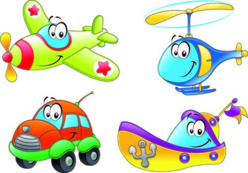 Different cartoon transportation tool vector Free vector in.