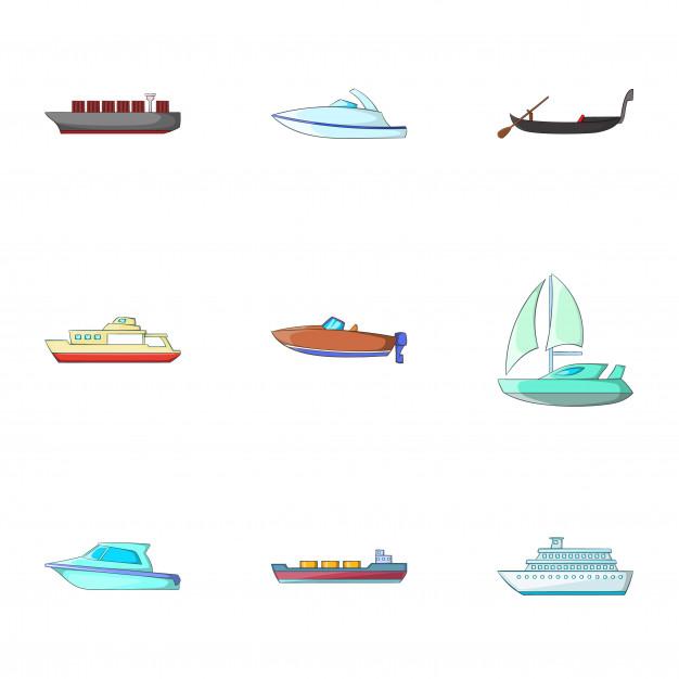 Conjunto de transporte marítimo, estilo de dibujos animados.