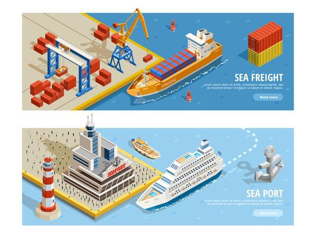 Banners horizontais isométricos de transporte marítimo.